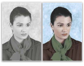 Computerized colouring of black and white photos